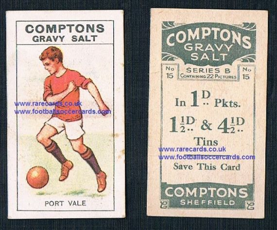 1924 Compton's Gravy Salts trade card series B, 15, Port Vale